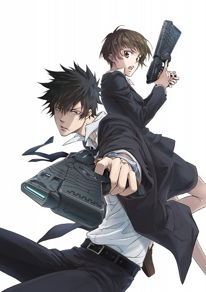 Tags: Anime, Miyoshi Hikaru, Production I.G., PSYCHO-PASS, Tsunemori Akane, Kougami Shinya, Mobile Wallpaper, Official Art
