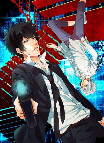 Tags: Anime, Hibaniki69, PSYCHO-PASS, Kougami Shinya, Makishima Shougo, Fanart, Mobile Wallpaper, Fanart From Pixiv, Pixiv