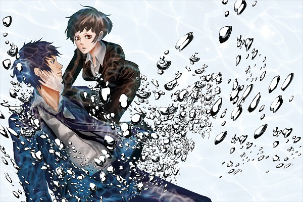 Tags: Anime, Pixiv Id 2032542, PSYCHO-PASS, Tsunemori Akane, Kougami Shinya, Fanart From Pixiv, Pixiv, Wallpaper, Fanart