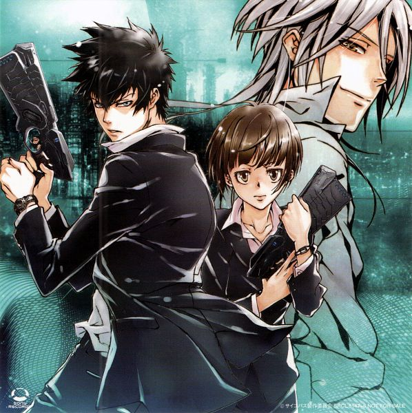 Tags: Anime, Amano Akira, PSYCHO-PASS, Kougami Shinya, Makishima Shougo, Tsunemori Akane, CD (Source), Official Art, Scan