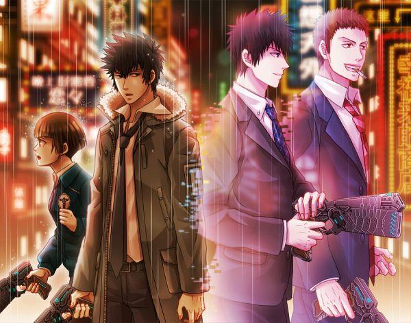 Tags: Anime, Eriyama, PSYCHO-PASS, Sasayama Mitsuru, Tsunemori Akane, Kougami Shinya, Walking Past Each Other, Memories, Disappearing, Fanart, Pixiv