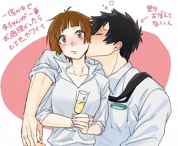 Tags: Anime, Merikomi, PSYCHO-PASS, Tsunemori Akane, Kougami Shinya, Wide Eyes, Fanart, Fanart From Pixiv, Translation Request, PNG Conversion, Pixiv