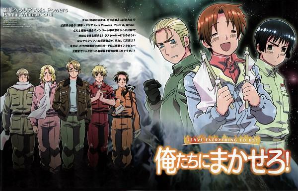 Tags: Anime, Kannan Masaaki, Studio DEEN, Axis Powers: Hetalia, Russia, United Kingdom, China, United States, France, Germany, Japan, North Italy, White Flag, Hetalia Axis Powers: Paint It, White!