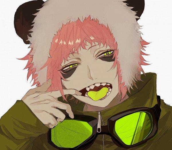 Tags: Anime, Kuroume, VOCALOID, GUMI, Bear Hat, Unusual Colored Tongue, Panda Hat, Pandamimi, Twitter, Fanart, Panda Hero