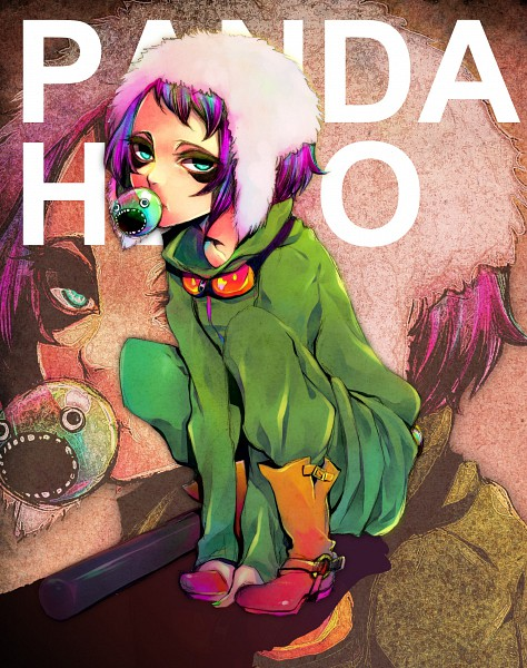 Tags: Anime, Aqua (Artist), VOCALOID, GUMI, Green Hoodie, Baseball, Panda Hero