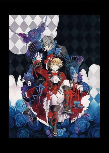 Tags: Anime, Mochizuki Jun, SQUARE ENIX, Pandora Hearts, Pandora Hearts ~Odds And Ends~, Xerxes Break, Oz Vessalius, Gilbert Nightray, Mobile Wallpaper, Official Art, Scan