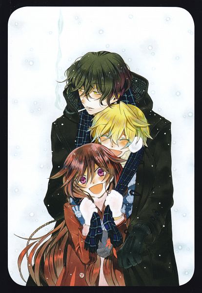 Tags: Anime, Mochizuki Jun, SQUARE ENIX, Pandora Hearts, Oz Vessalius, Alice Baskerville, Gilbert Nightray, Group Hug, Guide Book, Scan, Mobile Wallpaper, Official Art