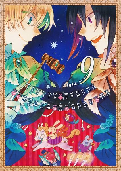 Tags: Anime, Mochizuki Jun, Pandora Hearts, Pandora Hearts Calendar 2014, Mad Hatter (Chain), Dodo (Chain), B Rabbit, Eques (Chain), Dormouse (Pandora Hearts), Owl (Chain), Leo Baskerville, Oz Vessalius, Dodo (Bird)