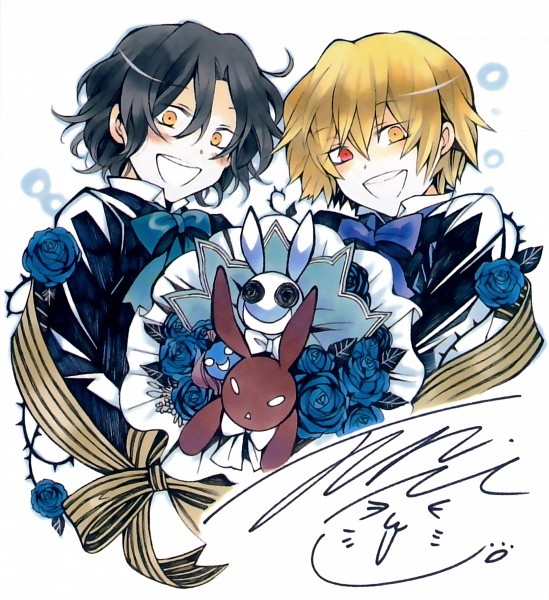 Tags: Anime, Mochizuki Jun, Pandora Hearts, Emily (Pandora Hearts), Vincent Nightray, Will of the Abyss, Gilbert Nightray, B Rabbit, Scan, Official Art, Nightray Family