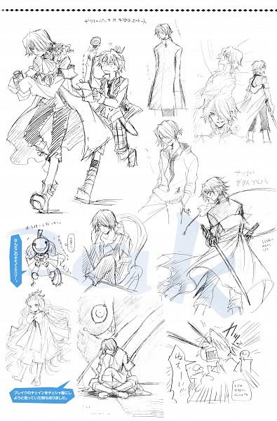 Tags: Anime, Mochizuki Jun, Pandora Hearts, Pandora Hearts ~Odds And Ends~, Emily (Pandora Hearts), Oz Vessalius, Xerxes Break, Official Art, Sketch, Scan, Mobile Wallpaper
