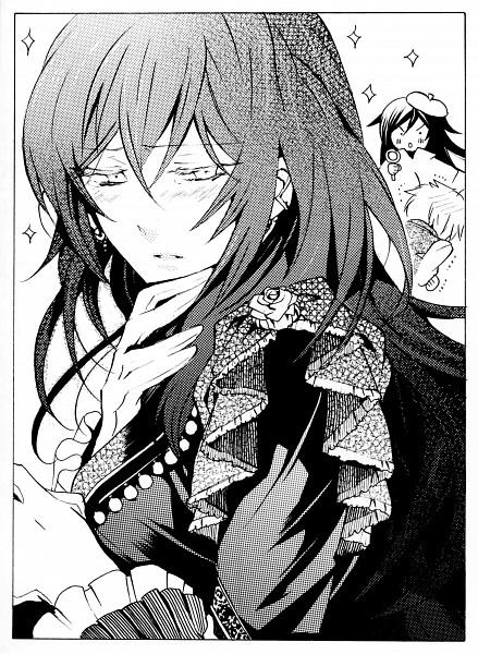 Tags: Anime, Mochizuki Jun, Pandora Hearts, Pandora Hearts ~Odds And Ends~, Alice Baskerville, Gilbert Nightray, Oz Vessalius, Official Art, Scan