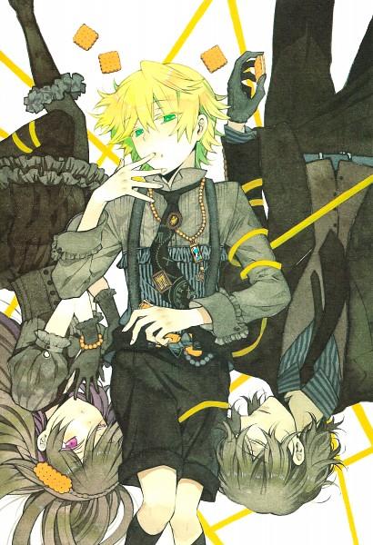 Tags: Anime, Mochizuki Jun, Pandora Hearts, Pandora Hearts ~There Is~, Oz Vessalius, Gilbert Nightray, Alice Baskerville, Scan, Official Art, Mobile Wallpaper