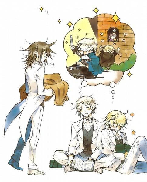 Tags: Anime, Mochizuki Jun, Pandora Hearts, Pandora Hearts ~There Is~, Elliot Nightray, Gilbert Nightray, Leo Baskerville, Alice Baskerville, Oz Vessalius, Dreaming, Tailcoat, Foot On Head, Sigh
