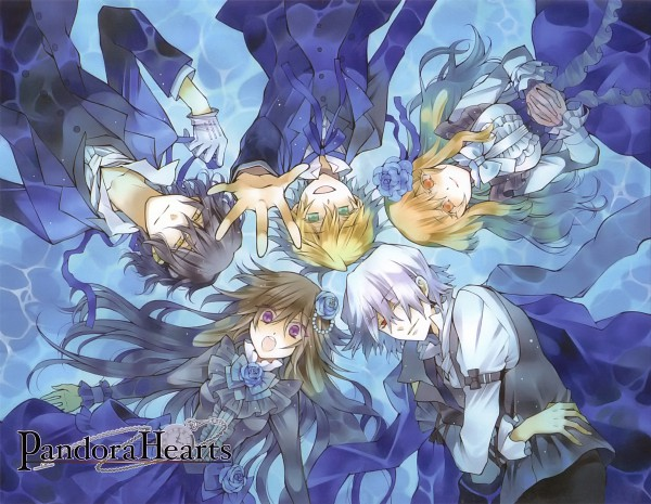 Tags: Anime, Mochizuki Jun, SQUARE ENIX, Pandora Hearts, Alice Baskerville, Sharon Rainsworth, Xerxes Break, Oz Vessalius, Gilbert Nightray, Laying in Circle, Scan, Official Art