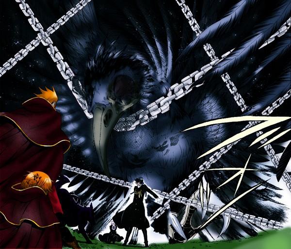 Tags: Anime, Mochizuki Jun, Pandora Hearts, Lily Baskerville, Xerxes Break, Gilbert Nightray, Bandersnatch (Pandora Hearts), Fang Baskerville, Raven (Chain), deviantART, Colorization