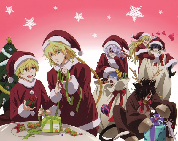 Tags: Anime, Pandora Hearts, Emily (Pandora Hearts), Cheshire Cat, Jack Vessalius, Vincent Nightray, Oz Vessalius, Xerxes Break, Gilbert Nightray, Reim Lunettes, Reindeer Costume, Scan, Official Art