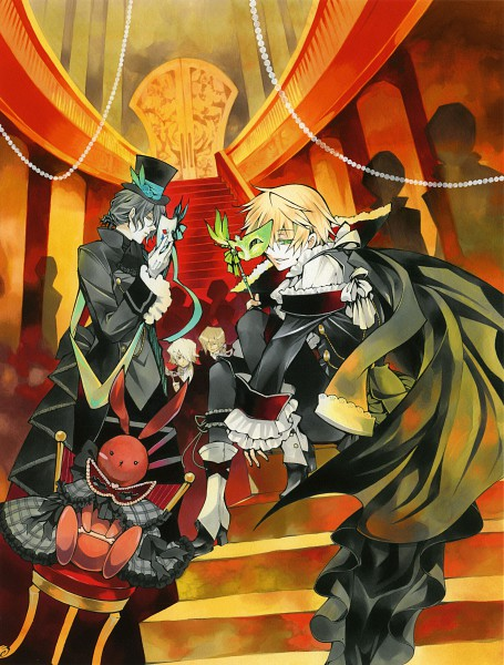 Tags: Anime, Mochizuki Jun, SQUARE ENIX, Pandora Hearts, Pandora Hearts ~Odds And Ends~, Oz Vessalius, Vincent Nightray, Xerxes Break, Gilbert Nightray, Carnival Mask, Party, Scan, Official Art
