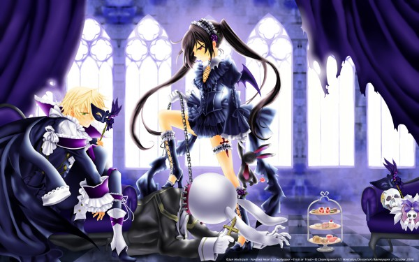 Tags: Anime, Pandora Hearts, Alice Baskerville, Oz Vessalius, Gothic Outfit, Brick Wall, Leash, Wallpaper