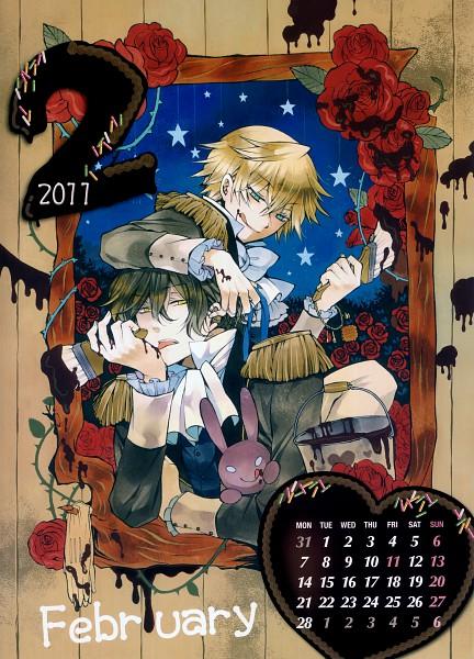 Tags: Anime, Mochizuki Jun, SQUARE ENIX, Pandora Hearts, Pandora Hearts Calendar 2011, Oz Vessalius, Gilbert Nightray, Paint Bucket, Calendar 2011, Official Art, Scan, Mobile Wallpaper, Calendar (Source)