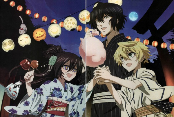 Tags: Anime, SQUARE ENIX, Xebec, Pandora Hearts, Alice Baskerville, Oz Vessalius, Gilbert Nightray, Cotton Candy, Paper Lantern, Goldfish Game, Candy Apple, Scan, Official Art