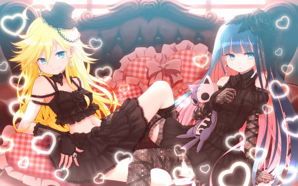 Tags: Anime, Kuinji 51go, Panty and Stocking With Garterbelt, Honekoneko, Anarchy Stocking, Anarchy Panty, Pixiv, Wallpaper, Fanart