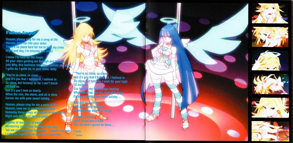 Tags: Anime, Gainax, Panty and Stocking With Garterbelt, Anarchy Stocking, Anarchy Panty, Pole Dancing, Transformation, Official Art, CD (Source), Artist Request, Scan, Facebook Cover