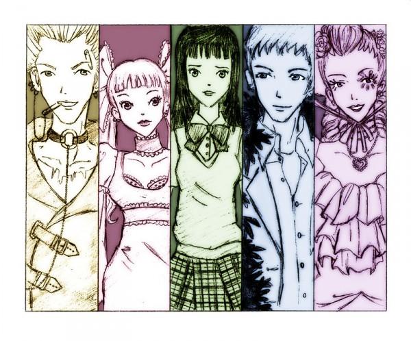 Tags: Anime, Yazawa Ai, Paradise Kiss, George Koizumi, Sakurada Miwako, Nagase Arashi, Hayasaka Yukari, Yamamoto Daisuke, Eye Flower, Fanart, Artist Request