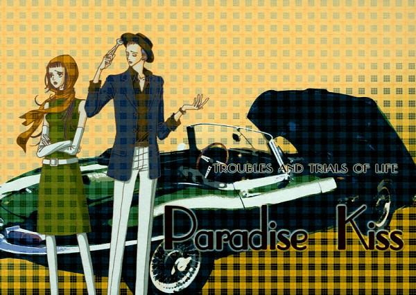 Tags: Anime, Yazawa Ai, Paradise Kiss, George Koizumi, Hayasaka Yukari, Paradise Kiss Postcard Collection, Plaid Background, Post Card, Official Art, Scan