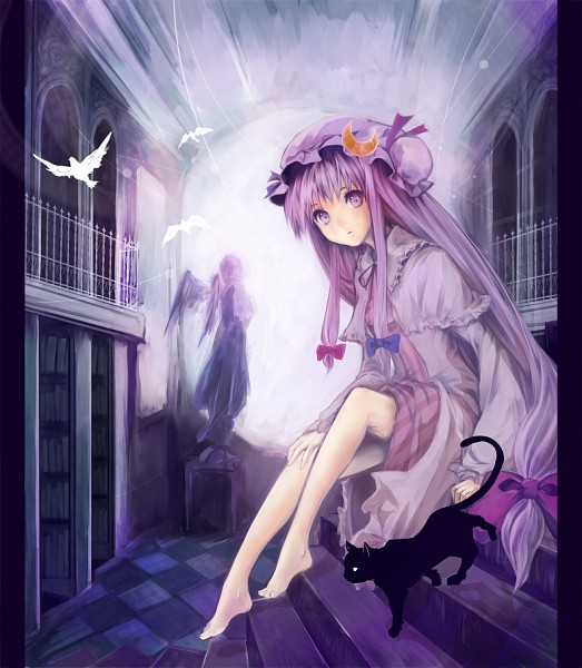 Tags: Anime, Pixiv Id 185854, Touhou, Patchouli Knowledge, Vertical-striped Dress, Fanart