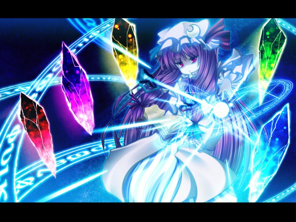 Tags: Anime, Kiyomin, Touhou, Patchouli Knowledge, Philosopher's Stone (Touhou), Element, Wallpaper