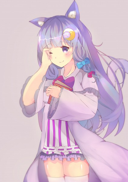 Tags: Anime, Sylux, Touhou, Patchouli Knowledge, Vertical-striped Dress, Moon Clip, Fanart, Self Made, Mobile Wallpaper