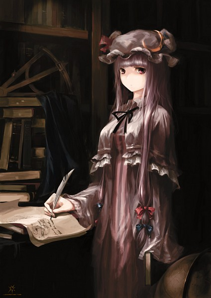 Tags: Anime, Jq, Touhou, Patchouli Knowledge, Writing, Vertical-striped Dress, Dark Colors, Quill Pen, Mobile Wallpaper, Fanart, Pixiv, Fanart From Pixiv