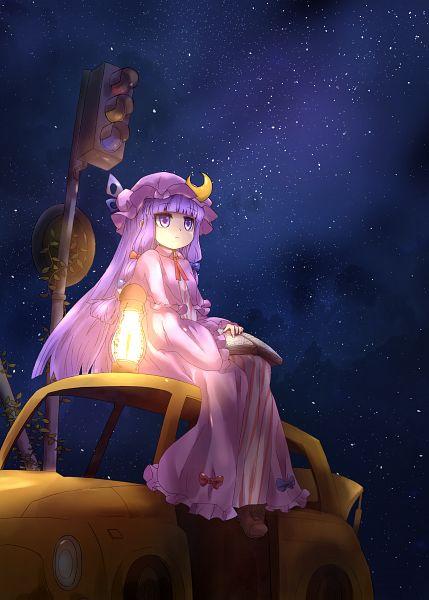 Tags: Anime, Pixiv Id 929944, Touhou, Patchouli Knowledge, Traffic Light, Purple Headwear, Moon Clip, Purple Hat, Fanart From Pixiv, Fanart, Pixiv