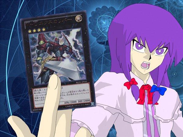 Tags: Anime, Pixiv Id 1302973, Touhou, Yu-Gi-Oh!, Yu-Gi-Oh! ZEXAL, Patchouli Knowledge, Heroic Champion - Excalibur, Yu-Gi-Oh! (Parody), Fanart From Pixiv, Fanart, Pixiv