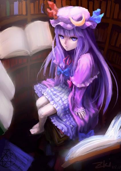 Tags: Anime, Tuzki, Touhou, Patchouli Knowledge, Library, Fanart, Pixiv