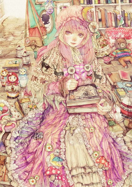 Tags: Anime, YOGISYA, Touhou, Patchouli Knowledge, Russian Doll, Syringe, Deer, Fanart, Pixiv, Mobile Wallpaper