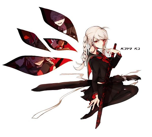 Tags: Anime, Pixiv Id 4657637, Super Danganronpa 2, Kuzuryuu Fuyuhiko, Monokuma, Pekoyama Peko, Fanart, Fanart From Pixiv, Pixiv