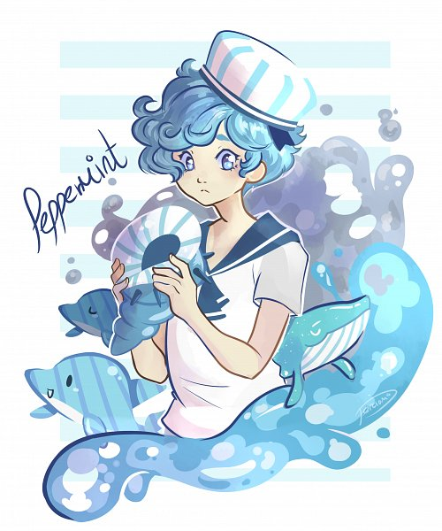 Tags: Anime, Cookie Run, Peppermint Cookie, Dolphin, Whale, Fanart, Artist Request