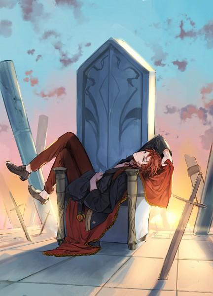 Tags: Anime, Pixiv Id 3355353, Granblue Fantasy, Percival (Granblue Fantasy), Throne, Red Pants, Fanart From Pixiv, Fanart, Mobile Wallpaper, PNG Conversion, Pixiv