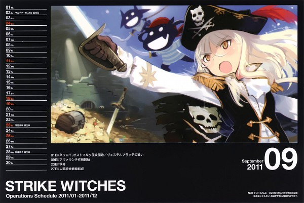 Tags: Anime, Shimada Humikane, Strike Witches, Strike Witches 2011 Calendar, Perrine H. Clostermann, Calendar 2011, Pixiv