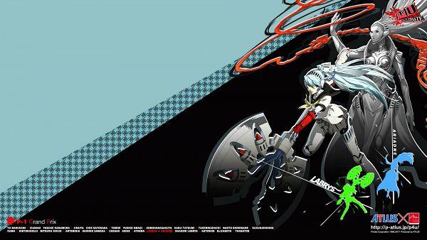 Tags: Anime, Soejima Shigenori, Persona 4: The Ultimate In Mayonaka Arena, Shin Megami Tensei: PERSONA 4, Ariadne (Persona), Labrys, HD Wallpaper, Official Wallpaper, Wallpaper, Official Art, Persona 4 Arena