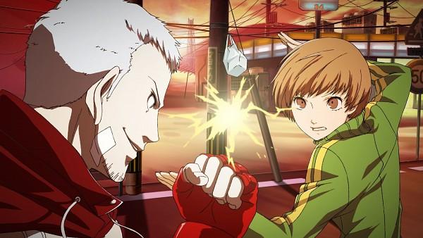 Tags: Anime, Persona 4: The Ultimate In Mayonaka Arena, Shin Megami Tensei: PERSONA 4, Shin Megami Tensei: PERSONA 3, Sanada Akihiko, Satonaka Chie, Wallpaper, CG Art, Facebook Cover, Persona 4 Arena