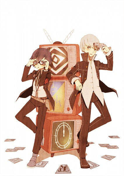 Tags: Anime, Aiwatan, Shin Megami Tensei: PERSONA 4, Shin Megami Tensei: PERSONA 3, Yuuki Makoto (PERSONA 3), Narukami Yu, Fanart, Pixiv, Mobile Wallpaper