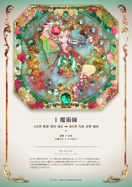 Tags: Anime, Radu, Peter Pan, Tinkerbell (Peter Pan), Peter Pan (Character), Art Nouveau, Tarot Cards, Detailed, The Magician, Original, Mobile Wallpaper, Pixiv