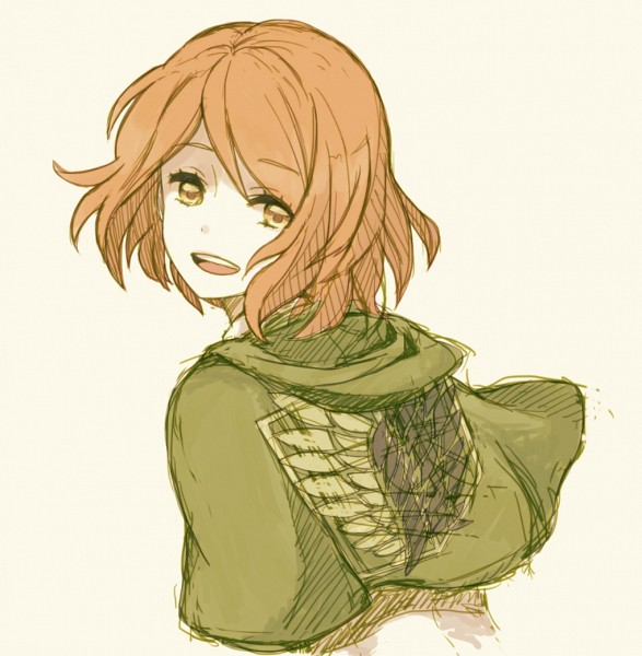 Tags: Anime, Inami, Attack on Titan, Petra Ral, Green Cape, Beige Background, Fanart From Pixiv, Pixiv, Sketch, Fanart