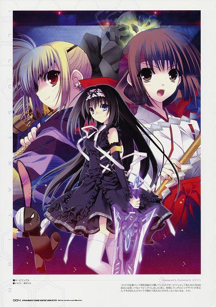 Tags: Anime, Suzuhira Hiro, Phantom Breaker Official Visual Works, Phantom Breaker, M (Phantom Breaker), Nishina Mikoto, Kumon Waka, Broadsword, Scan, Official Art