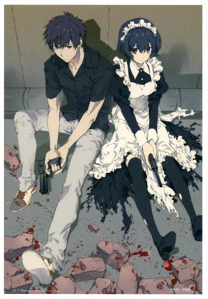 Tags: Anime, Sumihey, Nitro+, Phantom: Requiem For The Phantom - Official Complete Book, Phantom of Inferno, Ein, Elen, Azuma Reiji, Mobile Wallpaper