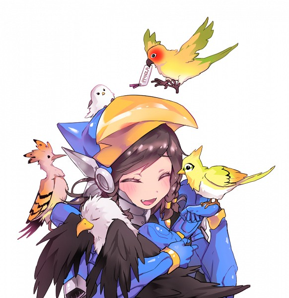 Tags: Anime, Pixiv Id 17439308, Overwatch, Pharah (Overwatch), Hugging Animal, Eagle, Animal on Shoulder, Parrot, Fanart From Pixiv, Fanart, Pixiv