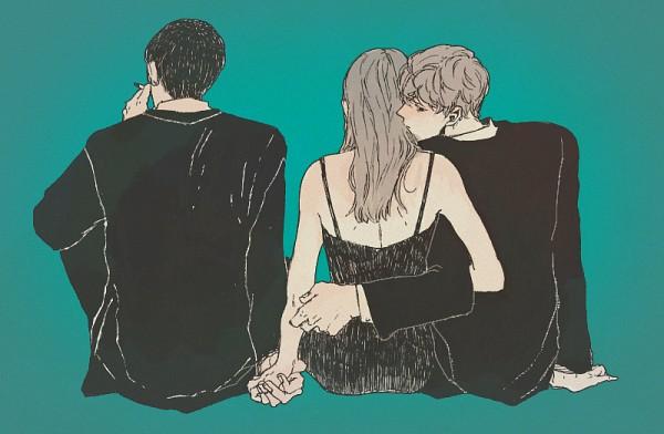 Tags: Anime, Pharmacy ( Pixiv Id 2112290 ), Sitting On Bench, Aqua Background, Kiss On The Neck, Threesome, Original, Pixiv