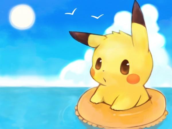 Tags: Anime, Mochi-san (Mangaka), Pokémon, Pikachu, Seagull, V Bird, Fanart From Pixiv, Fanart, Pixiv